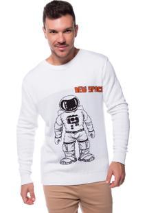 Blusa Zicão Tricot Astronauta Branca