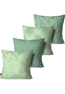 Kit Com 4 Capas Para Almofadas Decorativas Estilo Floral 45X45Cm Pump Up - Verde - Dafiti