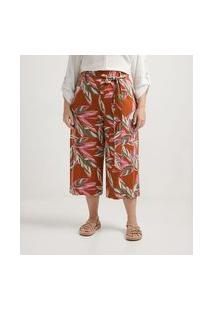 Calça Pantacourt Em Viscolycra Com Amarração E Estampa De Folhagem Curve & Plus Size