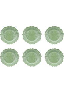 Conjunto De Sousplat Com 6 Peças Flor Verde 33 Cm