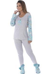 Pijama De Inverno Slim Victory Feminino - Feminino-Verde