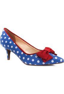 Sapato Zariff Shoes Scarpin Laço Bico Fino Azul