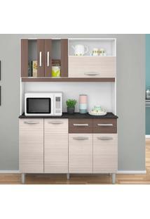 Cozinha Compacta 7 Portas E 2 Gavetas Ellen - Poquema - Amendoa / Capuccino