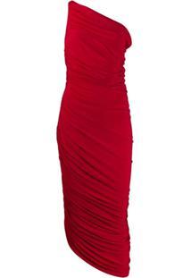 Norma Kamali Vestido Assimétrico Com Detalhe Franzido - Vermelho