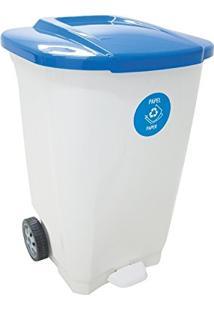 Lixeira Em Plastico T-Force Branco E Azul 100 Litros Com Rodas Tramontina 92815/701