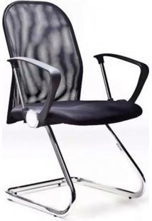 Cadeira De Escritório Fixa M3A-9258 Bric Couro Pu Preto