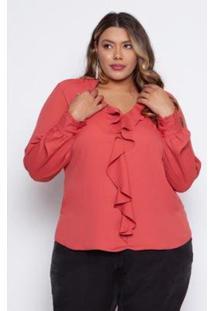Blusa Almaria Plus Size Pianeta Creponada Retro Feminina - Feminino-Rosa