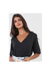 Camiseta Open Style Lisa Preta