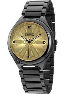 Relógio Feminino Euro Analógico - Unissex-Preto