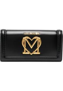 Love Moschino Carteira De Coração Com Placa De Logo - Preto