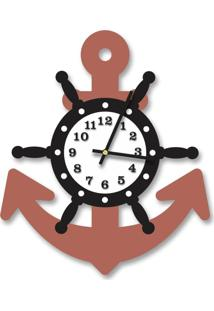 Relógio De Parede Decorativo Escultura Âncora Cobre Metalizado Com Timão E Números Relevo 35X40Cm Médio