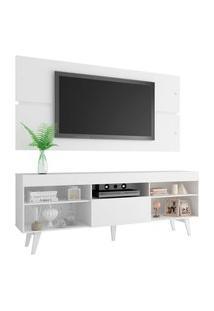 Rack Com Painel Para Tv Até 65 Polegadas Madesa Miami Com Pés - Branco Branco