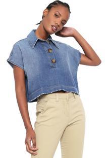 Camisa Jeans Colcci Botões Azul