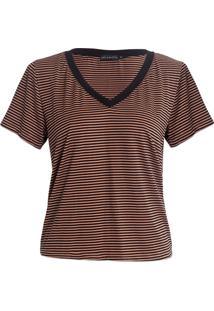 T-Shirt Karamello Decote V Listras Caramelo E Preto