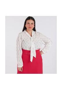 Blusa Gola Laço Estampada Curve & Plus Size | Ashua Curve E Plus Size | Branco | G