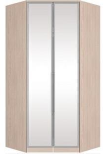 Guarda Roupa Modulado De Canto 2 Portas Com Espelho Diamante Creme - Henn