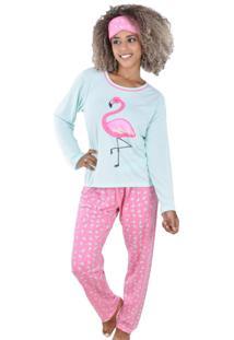 Pijama Ayron Fitness Flamingo Verde E Rosa Tapa Olho