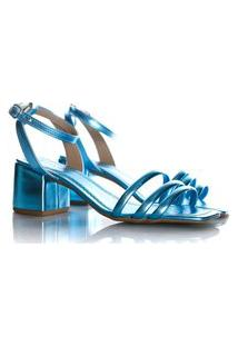 Sandalia Feminina Marta Com Salto Grosso Metalizada Azul