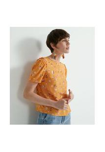 Blusa Manga Curta Em Viscose Estampa Floral | Marfinno | Amarelo | Gg