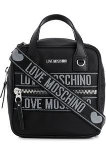 Love Moschino Bolsa Tote Jacquard Com Logo - Preto