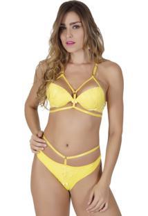 ... Conjunto Click Chique Strappy Luxo Em Renda Amarelo 10dce415cc1