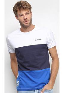 Camiseta Industrie Tricolor Manga Curta Masculina - Masculino-Branco