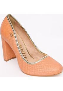 Sapato Tradicional Em Couro Com Tag- Salmão & Dourado