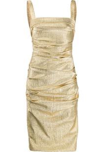 Dolce & Gabbana Vestido Midi Drapeado Metálico - Dourado