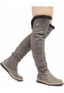 Bota Over The Knee Rasteira Cano Ajustável Christian Fischer Feminina - Feminino-Cinza