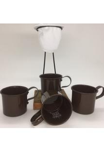Kit De Café Egoista - Individual - 4 Canecas Marrom - Demolição - Feito A Mão