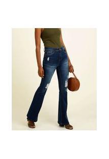 Calça Jeans Destroyed Flare Feminina Bolsos Marisa