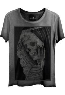 Camiseta Estonada Skull Lab Caveira Old Grafite