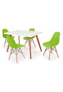 Conjunto Mesa De Jantar Gih 120X80Cm Branca Com 4 Cadeira Eames Eiffel - Verde