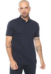 Camisa Polo Dudalina Reta Jersey Azul-Marinho