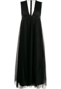 Redvalentino Vestido Midi Evasê - Preto