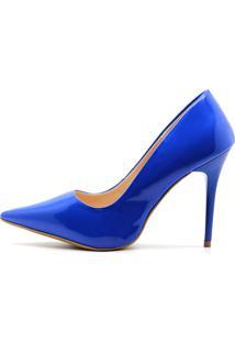 Scarpin Royalz Verniz Salto Alto Fino Penélope Azul