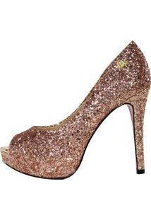 Peep Toe Meia Pata Week Shoes Glitter Bronze