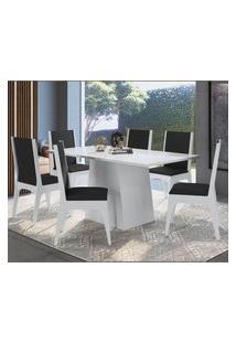 Conjunto Mesa Com Base 6 Cadeiras Mdf Branco Preto Lilies