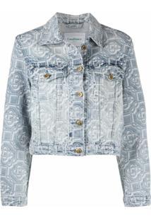 Casablanca Jaqueta Jeans Com Jacquard De Logo - Azul