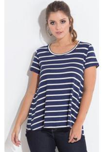 Blusa Azul E Off White Com Estampa De Listras
