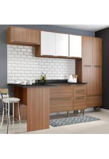 Cozinha Compacta 11 Portas Com Tampo E Pés 5454 Nogueira/Branco - Multimóveis