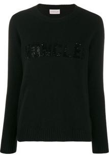 Moncler Suéter Com Aplicação De Paetês - Preto