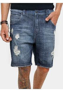 Bermuda Jeans Ellus Slim Fit Urban Destroyed Stone Masculina - Masculino