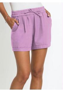 Shorts Comfort Com Linho Lilás