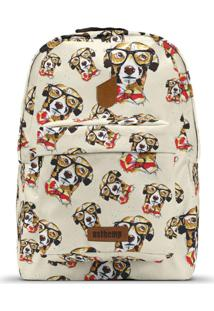 Mochila Usthemp Art Vegano Casual Estampa Geek Dog Off-White