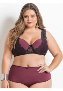 Sutiã Plus Size Bordô Com Renda Christian Gray