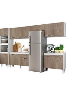 Cozinha Modulada 6 Módulos Composição 1 Branco/Castanho - Lumil Móveis