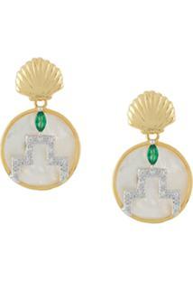 V Jewellery Brinco 'Gina' Banhado A Ouro 18K - Metálico