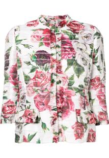 Dolce & Gabbana Jaqueta Cropped Floral - Rosa