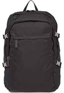 Prada Technical Fabric And Saffiano Leather Backpack - Preto